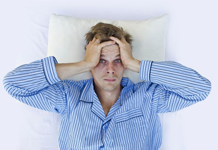 Man stressed about not being able to sleep